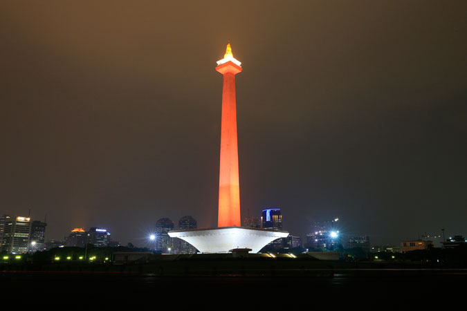 In Indonesia, Jakarta's most iconic Monument National MONAS turns orange for 16 days of Activism against Gender-Based Violence. Photo: UN Women