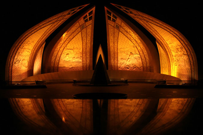 The National Monument of Pakistan was lit in orange on the eve of 25 November 2015, to raise awareness around preventing and eliminating violence against women and girls. Photo: UN Women/Atif Mansoor Khan