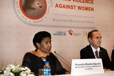 UN Women Executive Director Phumzile Mlambo-Ngcuka spoke at the press conference before the opening of the global meeting on Ending the violnce against Women in Istanbul, Turkey. Photo: UN Women/Ventura Formicone