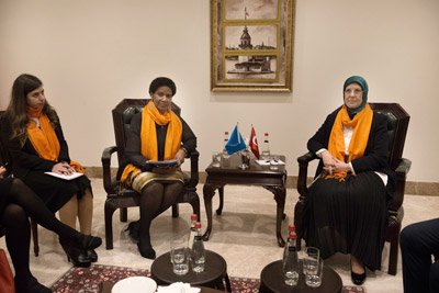 UN Women Executive Director Phumzile Mlambo-Ngcuka with Sema Ramazanoğlu, Turkey's Minister for Family and Social Policies. Photo: UN Women/Ventura Formicone
