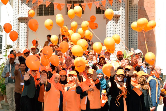 As part of the 16 Days of Activism against Gender-Based Violence, UN Women  in Yemen organized an event to orange the world. Participants released orange balloons with messages of freedom from violence for women and girls. Photo: UN Women/Eman Alawami