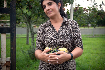 Iruza Kakava outside her home in western Georgia
