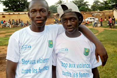 Young boys at the launch of the free hotline for reporting reporting gender-based violence in Mali. Photo: Mali National Police