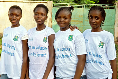 Young girls at the launch of the free hotline for reporting reporting gender-based violence in Mali. Photo: Mali National Police
