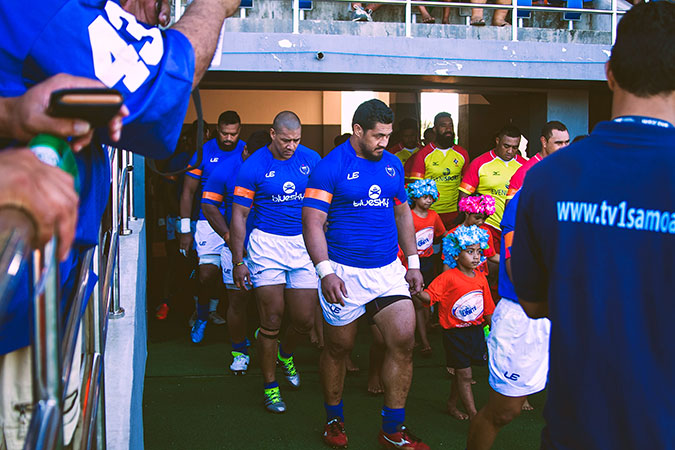 Samoa's Rugby team goes orange as players UNiTE to end violence against women