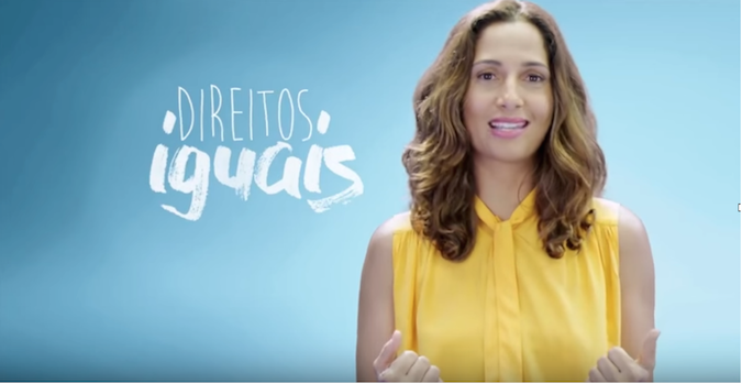 Brazil's National Goodwill Ambassador Camila Pitanga took part in a Public Service Announcement on International Women's Day.