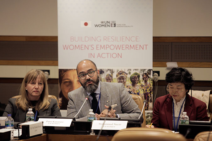 UN Women Regional Director for the Arab States Mohammad Naciri speaks about women's economic empowerment in fragile States. Photo: UN Women/J Carrier
