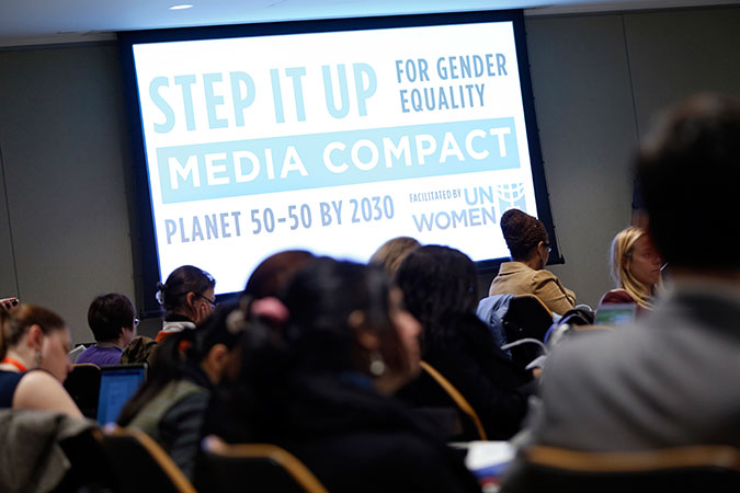 The launch of the  Step it Up for Gender Equality Media Compact in New York on 22 March. Photo: UN Women/Ryan Brown
