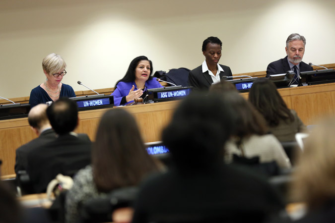 UN Women Deputy Executive Director Lakshmi Puri addresses the opening session of the CSW60 Multi-Stakeholder Forum, held at UN Headquarters on 20 January 2016.