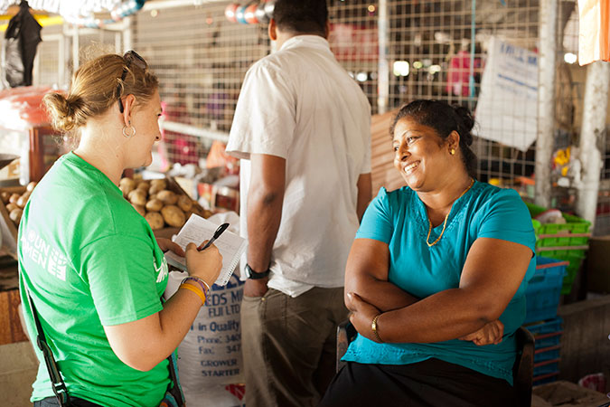 UN Women's Ellie van Baaren talks to Reenal Prasad about the challenges she has been facing since Tropical Cyclone Winston hit Fiji. While her house in Toko, about 3km from Tavua, survived, most of her family's belongings were ruined by the rain and flooding.   Credit: UN Women/Murray Lloyd
