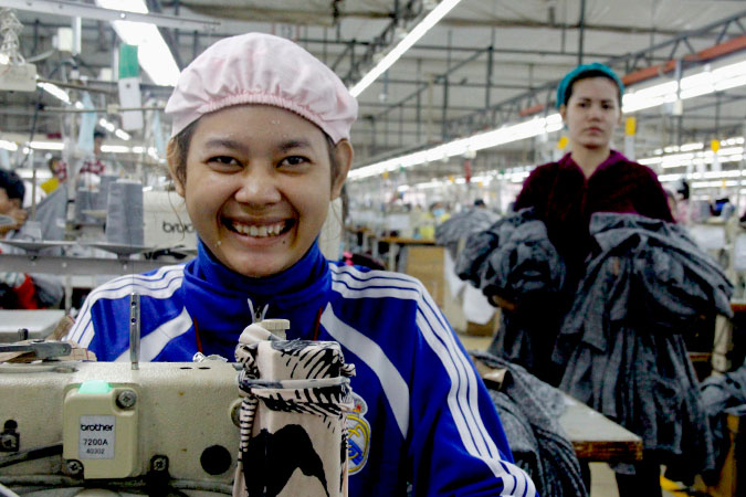 Yoeurn Reaksa has been employed at a garment factory for over a year. Photo: UN Women Cambodia/Lisa Taieb