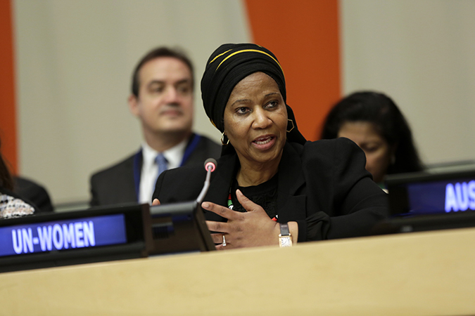 "UN Women Executive Director Phumzile Mlambo-Ngcuka speaks at the launch of the ""Making Every Woman and Girl Count"" initiative. Photo: UN Women/Ryan Brown"