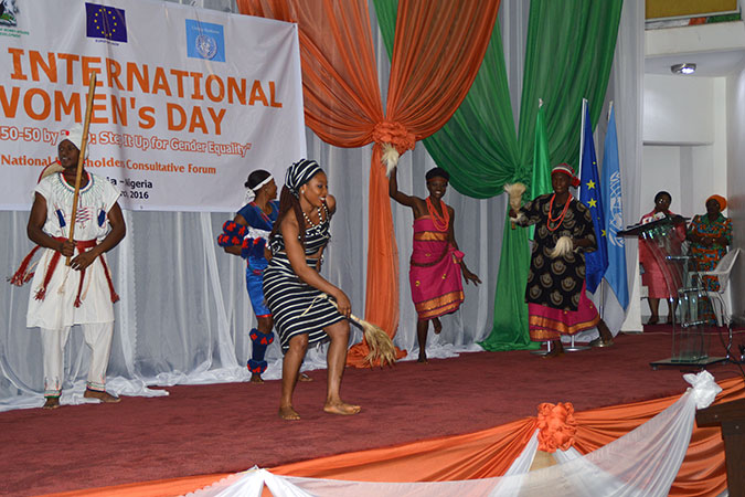 Afri-Theatre Dance Troupe performing a dance drama, on unity in diversity during the International Women's Day celebration at the National Centre for Women's Development in Abuja, Nigeria. Photo: UN Women Nigeria/Ernest M. Gbamatigbi