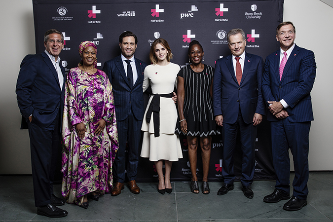 Chairman of PricewaterhouseCoopers International Limited Bob Moritz, Under Secretary-General and UN Women Executive Director Phumzile Mlambo-Ngcuka, Actor Edgar Ramirez, Actor and UN Women Global Goodwill Ambassador Emma Watson, First Lady of New York City Chirlane McCray, President of Finland Sauli Niinistö and Stony Brook University President Samuel L. Stanley Jr celebrate the second anniversary of UN Women's HeForShe initiative. Photo: UN Women/Celeste Sloman