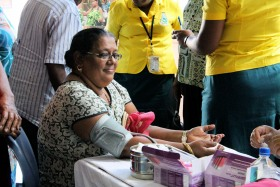 A market vendor gets a free health check during UN Women's International Day of Rural Women event in Labasa. Photo: UN Women