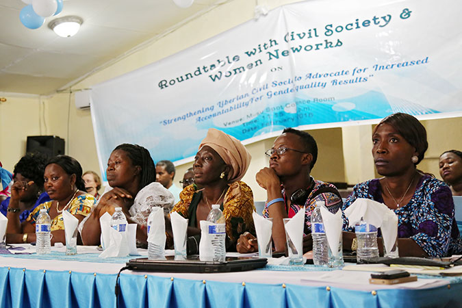 More than 50 representatives from civil society organizations and women's networks in Liberia met to share their needs. Photo: UN Women/Winston Daryoue