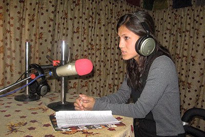 In the Radio Namobuddha studio. Photo Courtesy of Radio Namobuddha