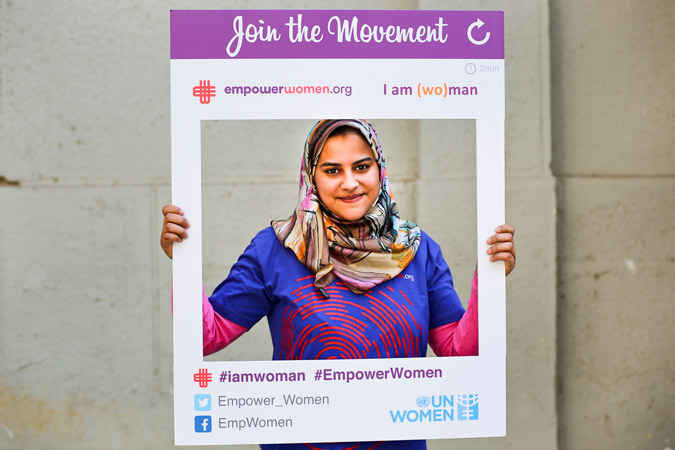 Nora Hamdy has been an active community mobilizer through Empower Women since August 2014. Photo: UN Women/Emad Karim