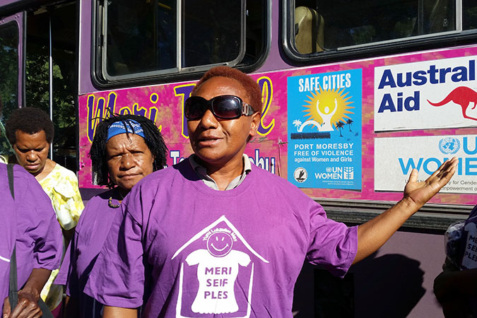 Buses donning UN Women logos and Safe Cities messaging were inaugurated in Port Moresby, Papua New Guinea.  Photo: Ginigoada/Lisa Marie Luther