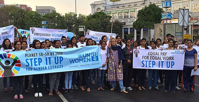International Women's Day events kicked off in India with a march for Planet 50-50 in New Delhi. Photo: UN Women India