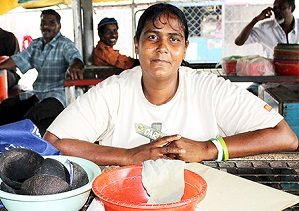 Raveena Sharma is the only female kava seller at the Tavua market in Fiji. Kava selling is usually dominated by men. Photo: UN Women/Sereana Narayan