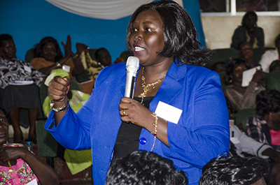 Participant Mary Paul Ngundeng emphasizing the need to reach out to grassroots women. Photo credit: UN Women/ Ezra York Wani