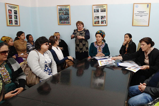 In Turkmenistan, people with disabilities, government and civil society participated in an International Women's Day event calling for action. Photo: UN Women