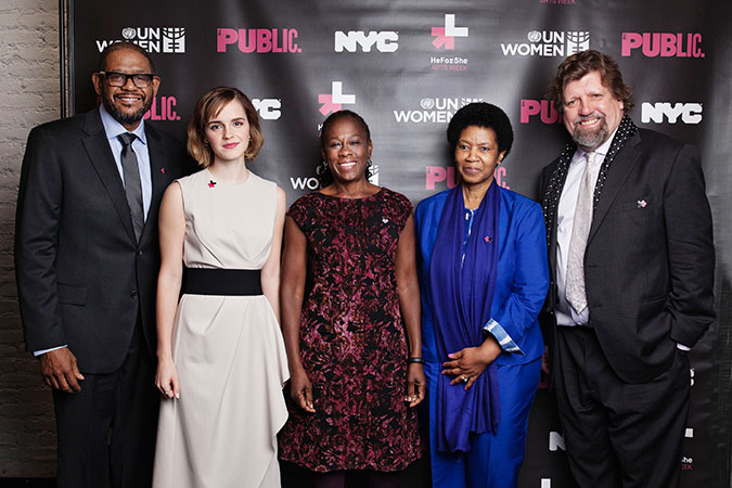 The launch event featured SDG Advocate and UNESCO Special Envoy for Peace  Forest Whitaker, UN Women Goodwill Ambassador Emma Watson, First Lady of New York City Chirlane McCray, UN Women Executive Director Phumzile Mlambo-Ngcuka, The Public Theatre's Artistic Director Oskar Eustis. Photo: UN Women/Celeste Sloman