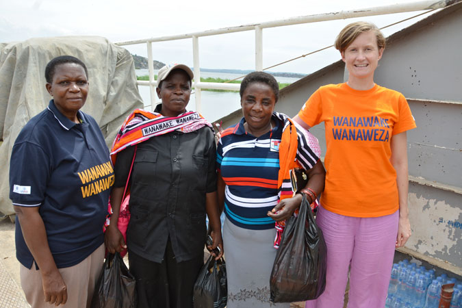 UN Women Tanzania Gender Specialist – Democratic Empowerment Project, Margaret Rugambwa, district council candidates Laurencia Kanana Magambo and Clemencia Mkwaya Meado and UN Women Communications and Advocacy Officer Stephanie Raison. Photo: UN Women Tanzania/Andrew Hamza