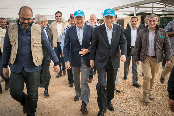 UN Secretary-General Ban Ki-moon visits UN Women's Oasis centre at the Za'atari camp in Jordan. Photo: UN Women/Christopher Herwig
