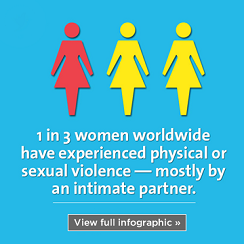 infographic tile for violence against women affecting 1 in 3 women worldwide