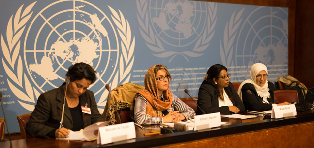 A group of Libyan women at the UN's Palais des Nations in Geneva, Switzerland, presented their agenda for peace to the international community on 10 November 2015. Photo: UN Women/Emad Karim