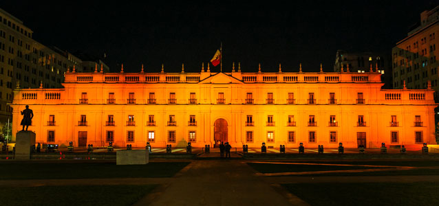 In Santiago, Chile, to mark the International Day to End Violence against Women, the Presidential Palace, La Moneda, was lit in orange on 25 November.Photo: UN Women/Sabino Aguad
