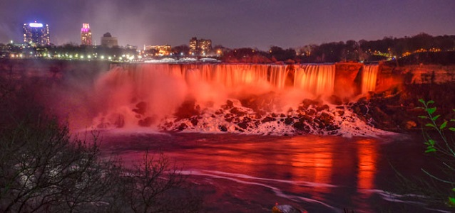 "One of the Wonders of the World, the majestuous Niagara Falls were bathed in orange light on 24 November, both on the American and Canadian side of the ""Horseshoe Falls"" as part of this year"