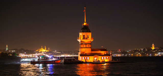 Maiden Tower in Istanbul, Turkey was lit orange. Photo: Istanbul Metropolitan Municipality