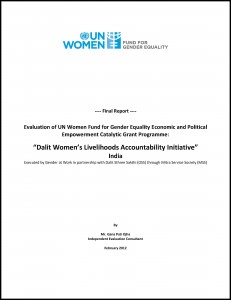"FGE-Final External Evaluation Report:""Dalit Women's Livelihoods Accountability Initiative"" in India"