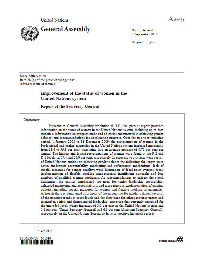 Improvement of the status of women in the United Nations system: Report of the Secretary-General (2010)