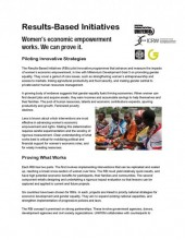 Results-Based Initiatives – Women's Economic Empowerment Works. We Can Prove It.