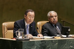 Secretary-General Ban Ki-moon (left) and GA President Ali Treki at meeting that approved UN Women.