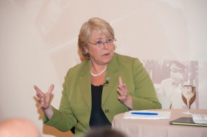 Bachelet delivers a lecture on women, war and peace at Hunter College, New York