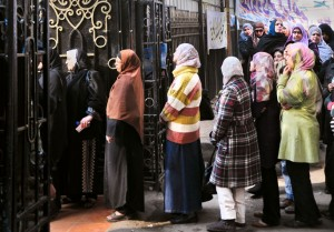 Women line up to vote in Egypt's 2011 parliamentary elections.