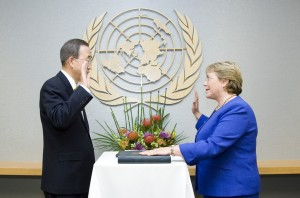 UN Secretary-General Ban Ki-moon Swears in Michelle Bachelet as Head of UN Women