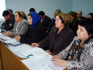 Women's Watch Groups, such as this one in Sughd Oblast, Tajikistan, bring together women leaders in rural communities to advocate for their needs.