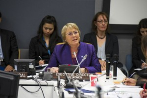Michelle Bachelet, Executive Director of UN Women, addresses a high-level roundtable discussion on 'Democracy and Gender Equality.'