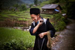 A Hmong hill tribe woman at work in Sin Chai, Viet Nam.